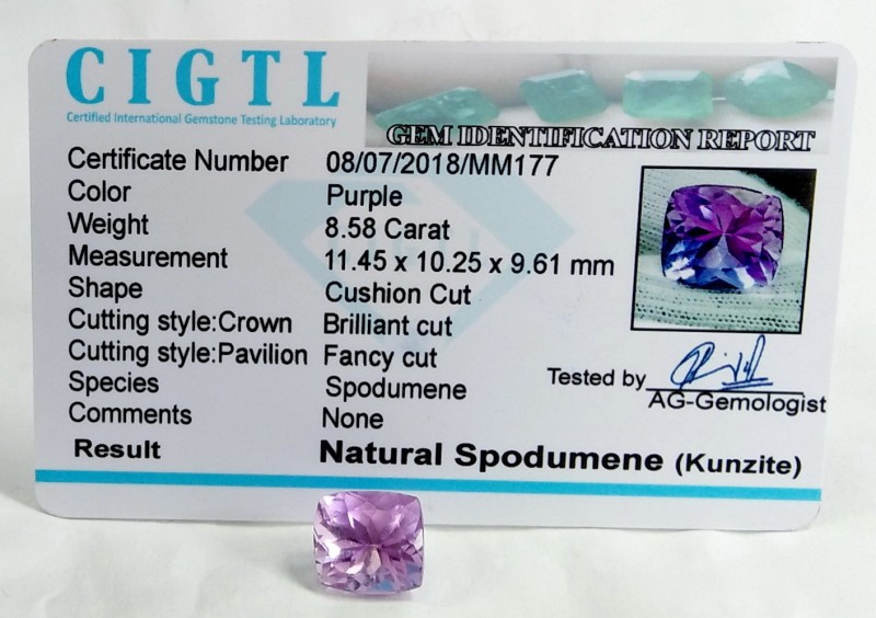 Certified CIGTL |8.58 Ct| Museum Grade | Pink Kunzite Gemstone