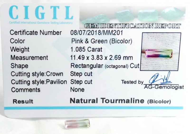 Certified CIGTL  ~1.085 Cts Museum Grade Bi color Tourmaline Gem