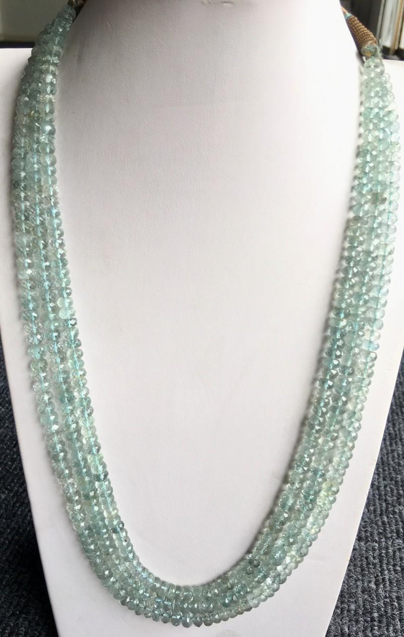 410 Crt Natural Aquamarine Beads Necklace