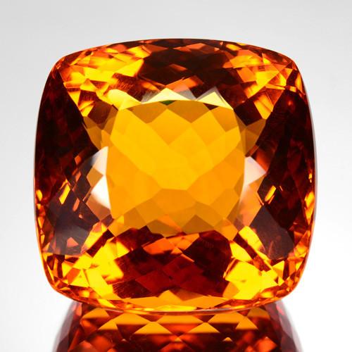 108 Cts Natural Golden Orange Citrine Cushion Cut Madeira