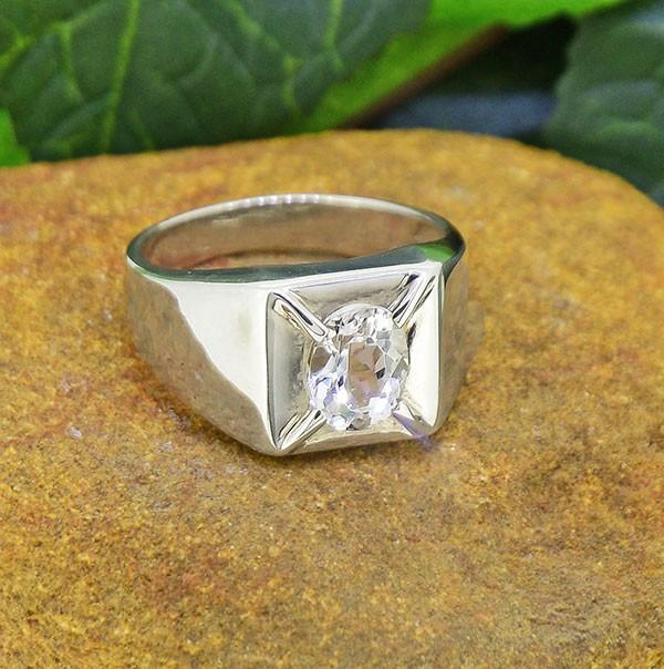 Natural Goshenite 925 Sterling Silver Ring SIZE8  (SSR0187 )