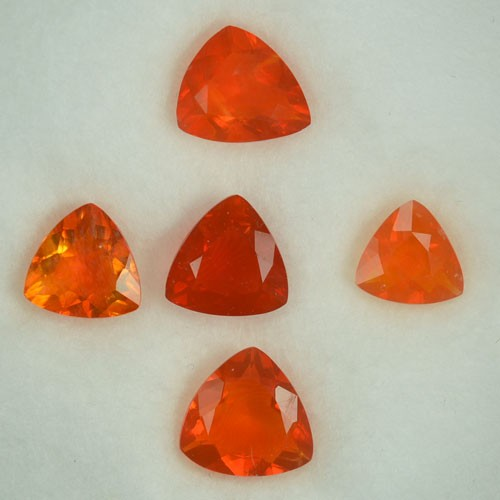 3.44 Cts Natural Mexican Orange Fire Opal Trillion 5 Pcs Mixed Size Parcel