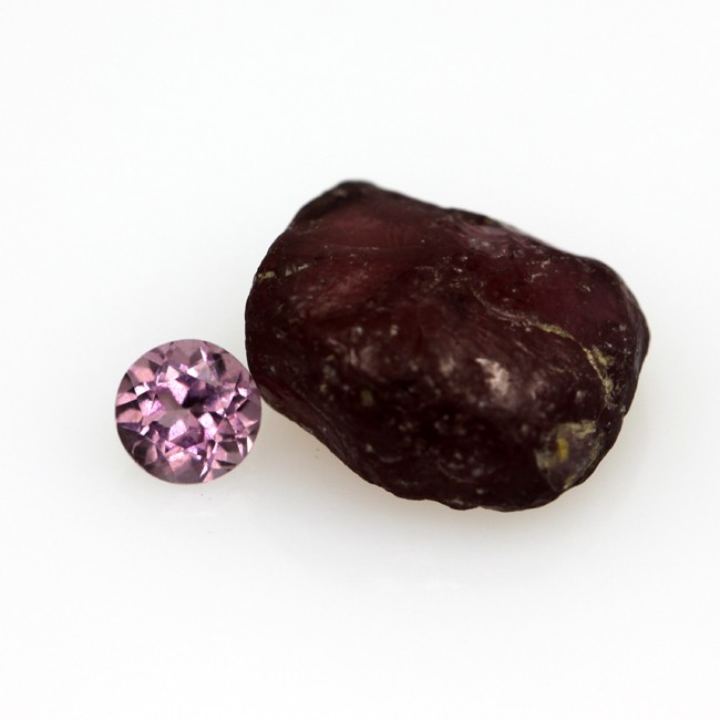 5.67cts Natural Rhodolite Before and After set