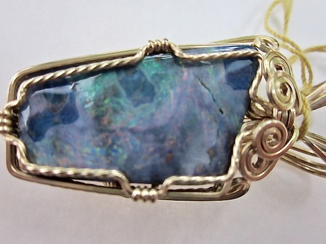New 41.5 ct handmade Boulder Opal Gemstone pendant 14k gold wire list $400.