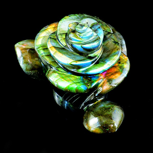 Genuine 670.00 Cts Amazing Flash Labradorite Carved Rose