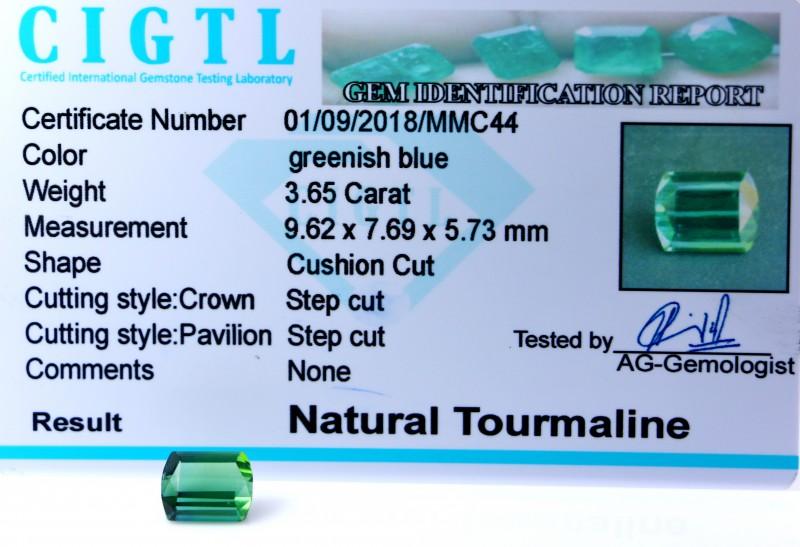 Certified|CIGTL| ~3 65 Cts Museum GradeGreen color Tourmaline Gem