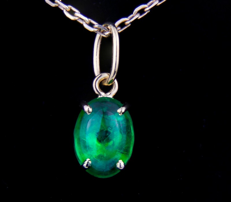 1.81 ct. Natural Emerald 18k Gold Pendant.