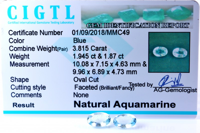 Certified CIGTL |3.815 Ct| Museum Grade | Blue Aquamarine Pairs