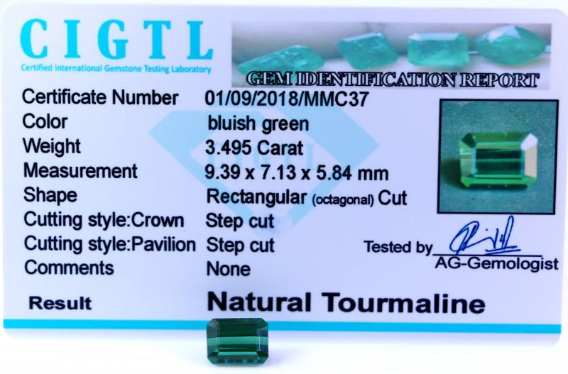 Certified|CIGTL| ~3.495  Cts Museum Grade Green color Tourmaline Gem