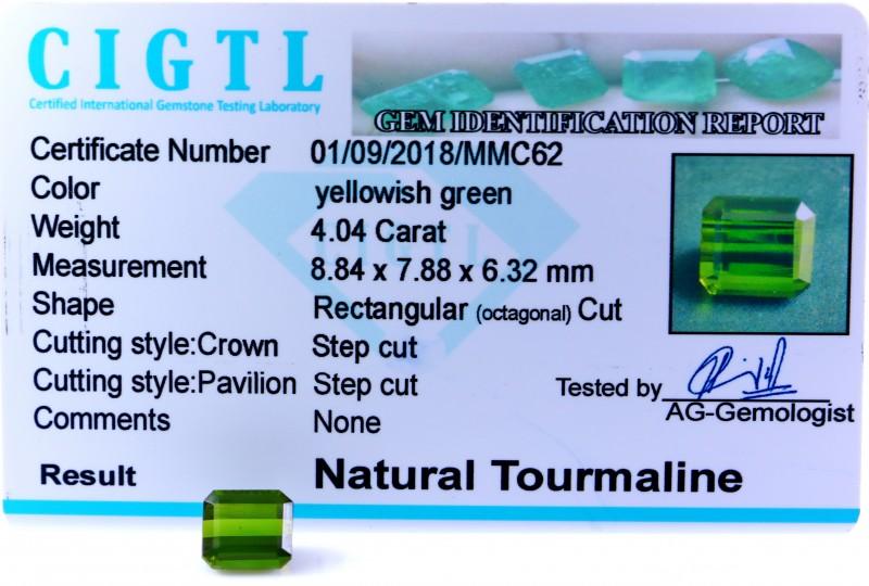 Certified|CIGTL| ~4.04 Cts Museum Grade Green color Tourmaline Gem