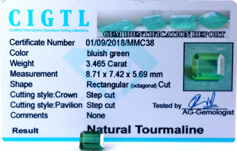Certified|CIGTL| ~3.465 Cts Museum Grade Green color Tourmaline Gem