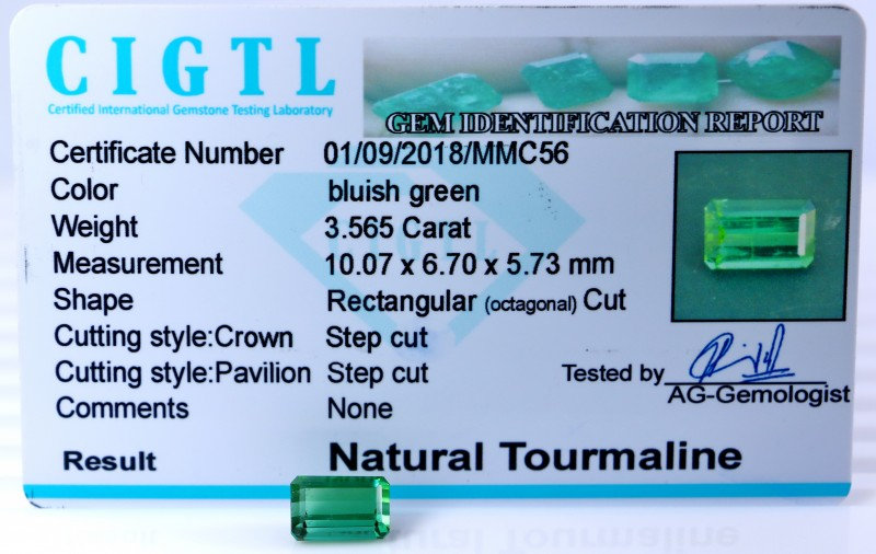Certified|CIGTL| ~3.565 Cts Museum Grade Green color Tourmaline Gem