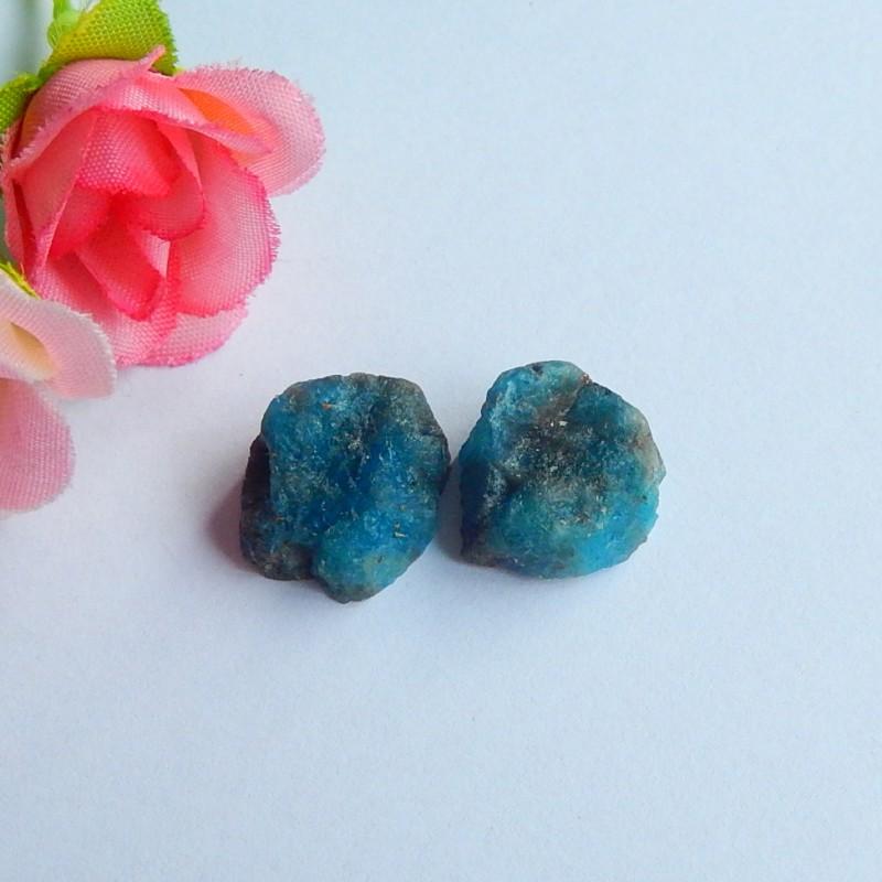 34ct 2pcs Natural Blue apatite cabochon beads nugget shape (18091126)