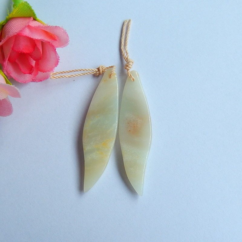 29.5ct Natural yellow amazonite carved leaf Earring Pair(18091124)