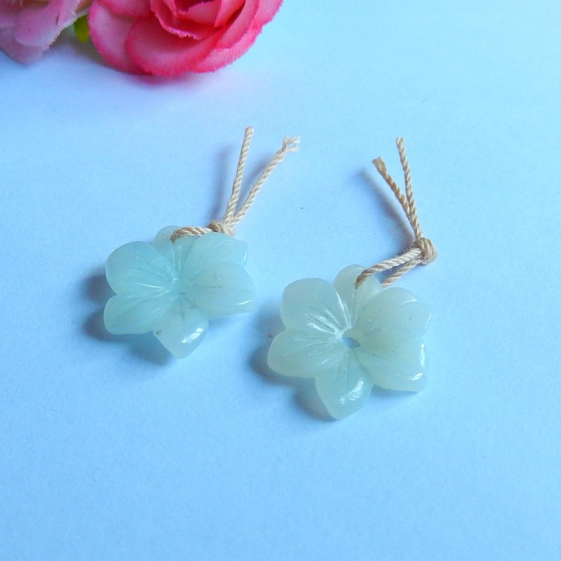7.5ct Natural blue amazonite carved flower Earring Pair(18091128)