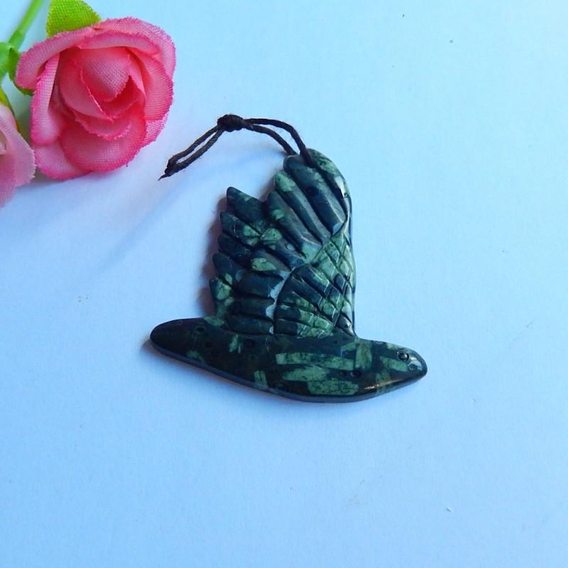 43.5ct Natural jasper pendant bead carved bird jewelry(18091133)