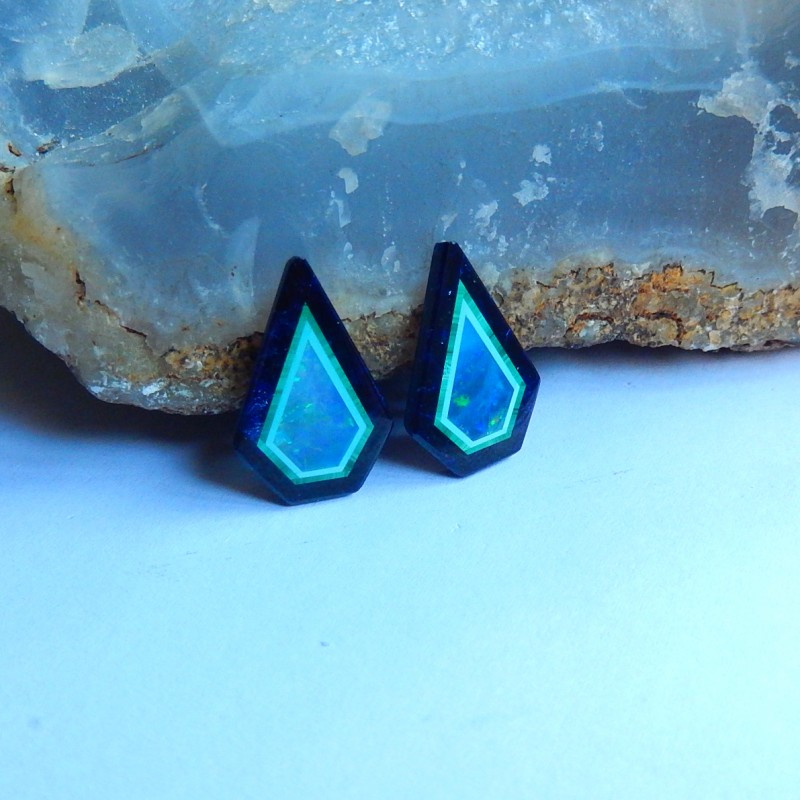 45ct, 2pcs Natural malachite ,fire opal ,obsidian combined gemstone  caboch