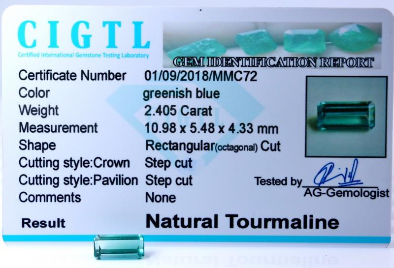 Certified|CIGTL| ~2.045 Cts Museum Grade Green color Tourmaline Gem