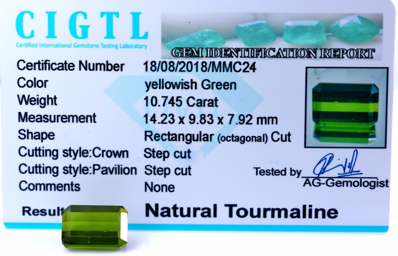 Certified CIGTL  ~10.745 Cts Museum Grade Green color Tourmaline Gem