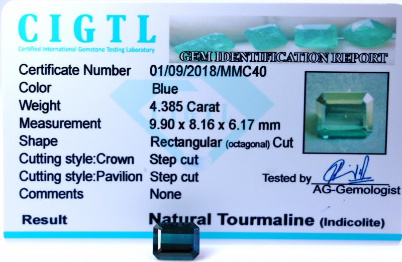 Certified|CIGTL| ~4.385 Cts Museum Grade Blue color Tourmaline Gem