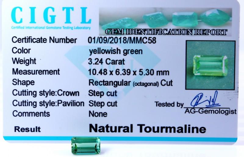 Certified|CIGTL| ~3.24 Cts Museum Grade Green color Tourmaline Gem