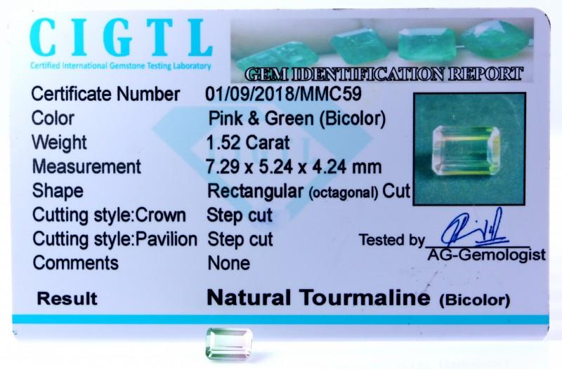 Certified|CIGTL| ~1.52 Cts Museum Grade Bi color Tourmaline Gem