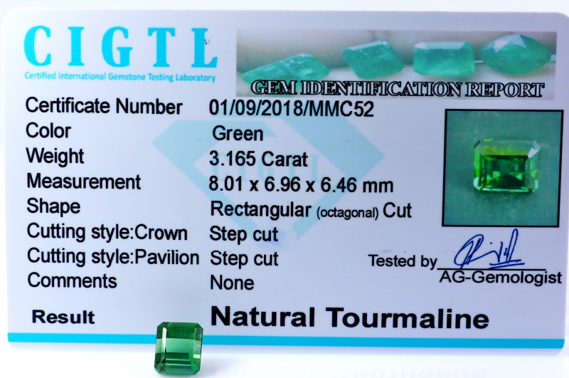 Certified|CIGTL| ~3.165 Cts Museum Grade Green color Tourmaline Gem