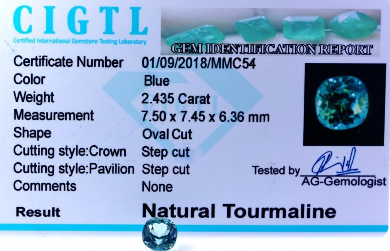 Certified CIGTL  ~2.435Cts Museum Grade Blue  color Tourmaline Gem