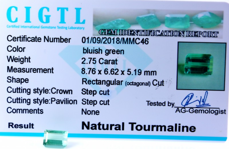 Certified|CIGTL| ~2.75 Cts Museum Grade Green color Tourmaline Gem