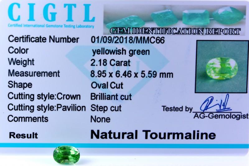 Certified|CIGTL| ~2.18 Cts Museum Grade Green color Tourmaline Gem