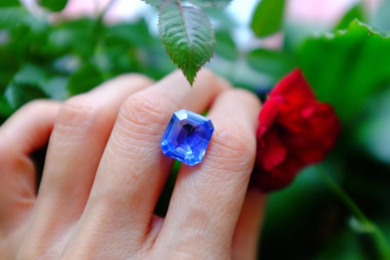 9.52ct Unheated Blue Sapphire, Emerald Cut, Sri Lanka