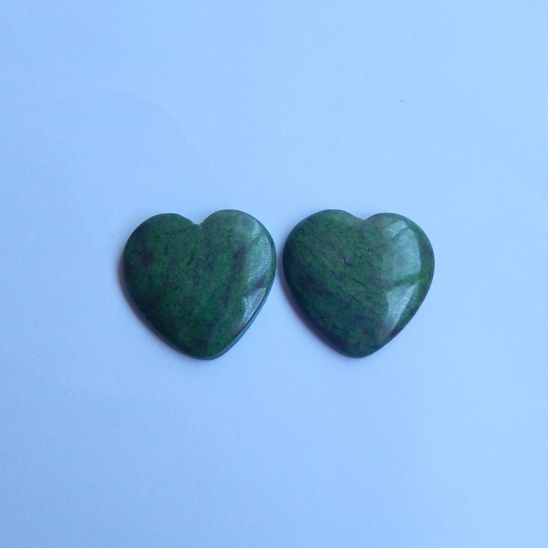 49.5ct Natural african jade cabochon pairs heart shape jewelry (18091149)