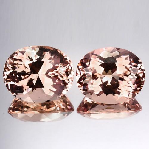 23.30 Cts Natural Peach Pink Morganite 2 Pcs Oval Cut Brazil