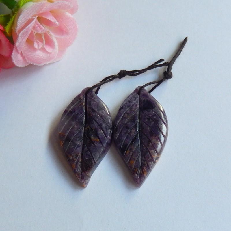 57.5ct Natural fluorite gemstone carved leaf   Earring Pair (18091151)