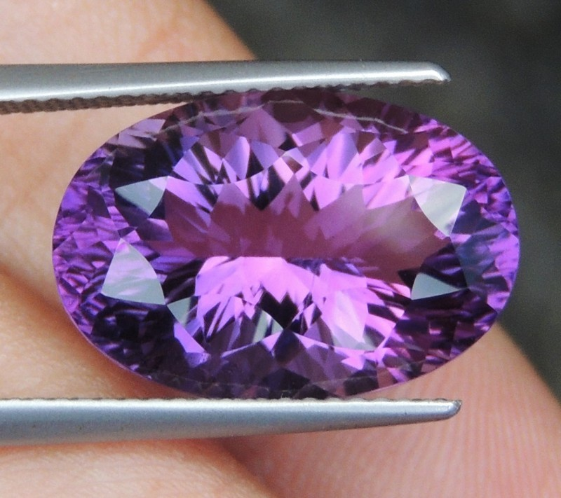 10.38cts, Amethyst,  Top Cut, Clean, Untreated, Concave