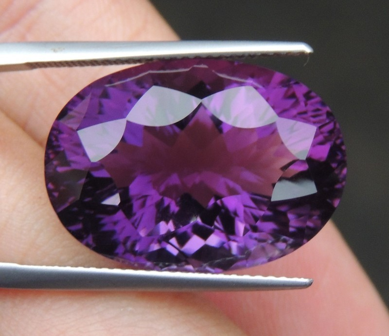 23.22cts, Amethyst,  Top Cut, Clean, Untreated, Concave