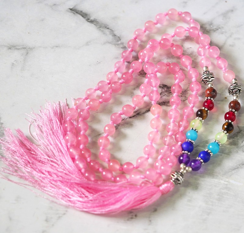Pink Rose Quartz Prayer Beads WS389