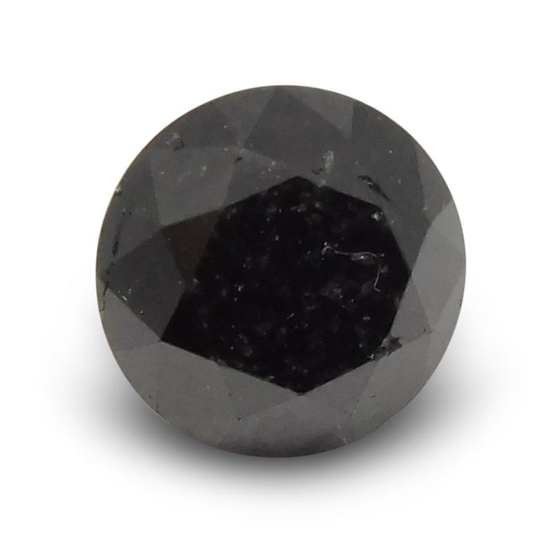 1.66 ct Round Black Diamond - $1 No Reserve Auction