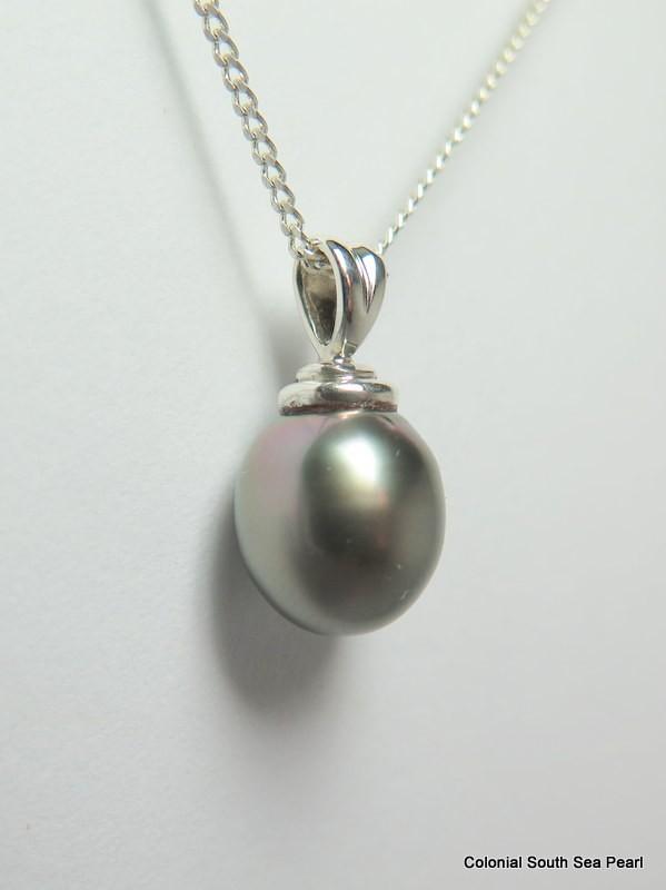 10.5mm - Tahitian Black  Pearl Silver Pendant