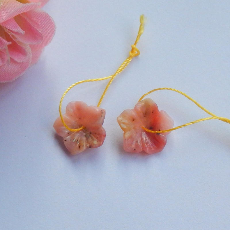 6.75ct Natural Rhodochrosite  carved flowers Earring Pair(18091165)