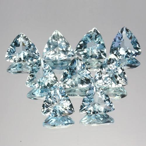 ~TRILLION~ 8.88 Cts Natural Nice Blue Aquamarine 9 Pcs Brazil