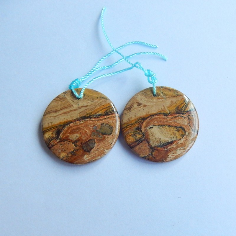 72.5ct Natural brown picture jasper round  shape Earring Pair(18091214)