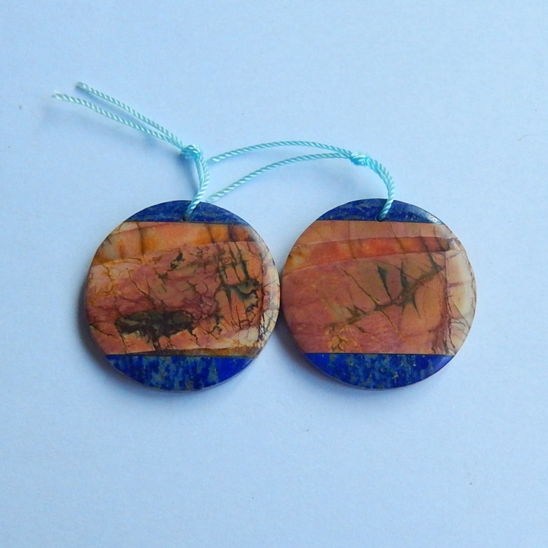 76ct Natural multi color jasper and lapis lazuli intarsia  gemstone round s