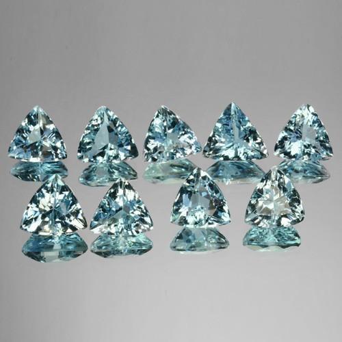 7.62 Cts Natural Nice Blue Aquamarine (6.5&6 mm) Trillion 9 Pcs Brazil