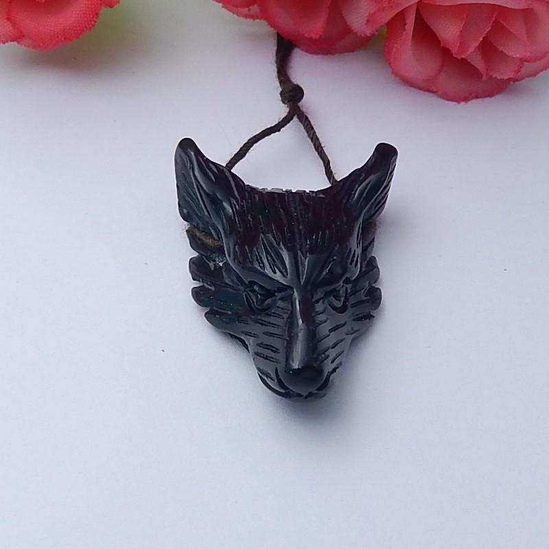 45ct Natural obsidian wolf head pendanat customized jewelry  (18091248)