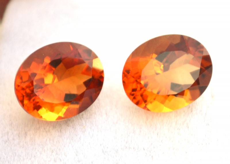 4.70 Carat Fine Matched Pair of Oval Cut Citrines