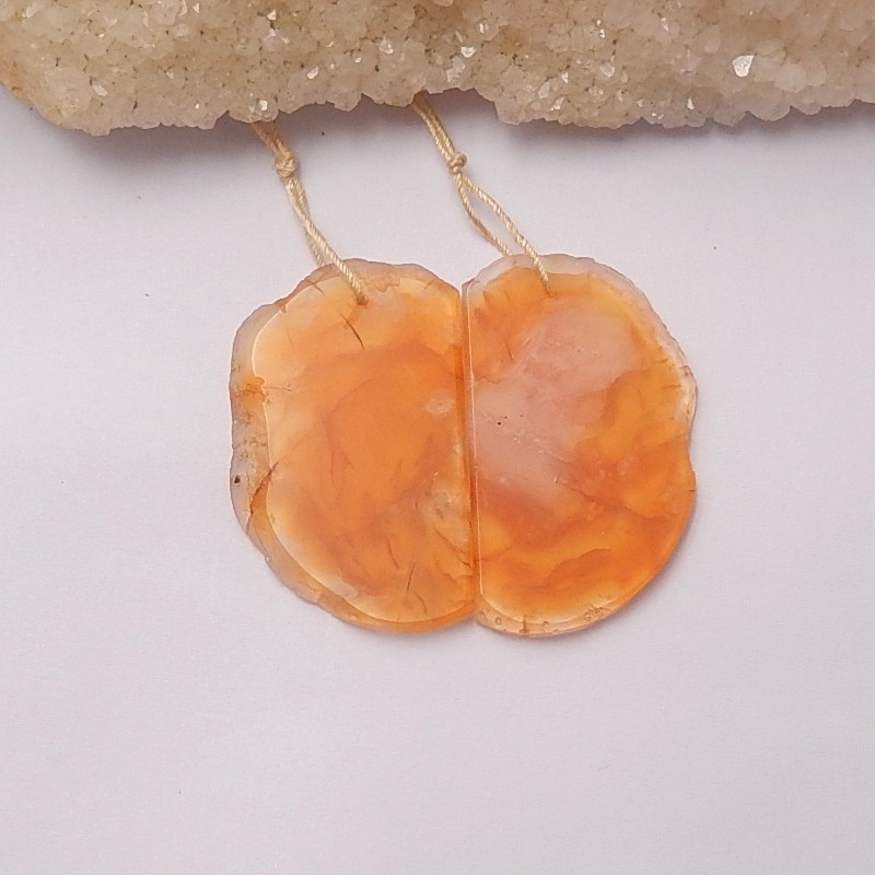 54.5ct Natural red agate earring beads (18091290)