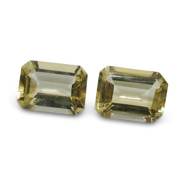 2 Stones - 1.7 ct Heliodor 7x5mm Octagon- $1 NR Auction