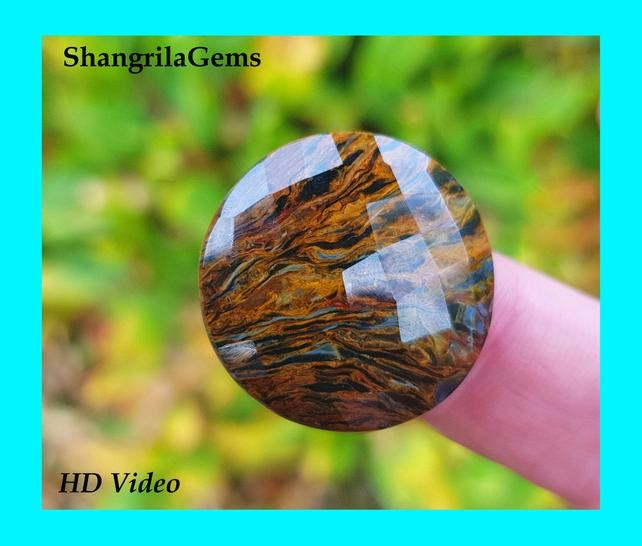 25mm 21ct Pietersite round facetted cabochon AAA 25 by 4.5mm