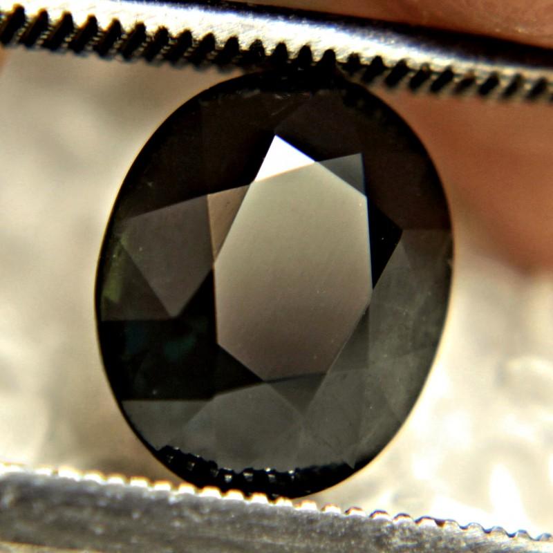 CERTIFIED - 3.47 Carat Natural African Green Black Sapphire